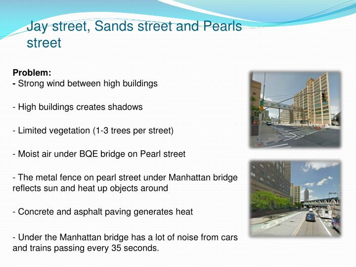 Jay street, Sands street and Pearls