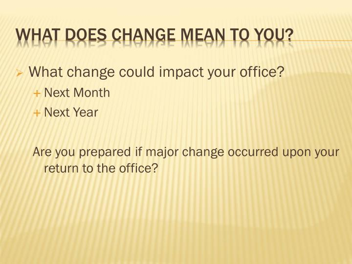 What change could impact your office?