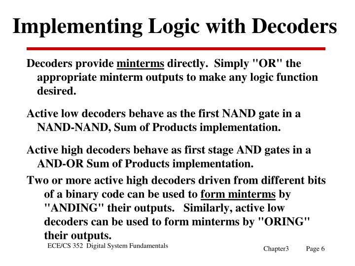 Implementing Logic with Decoders