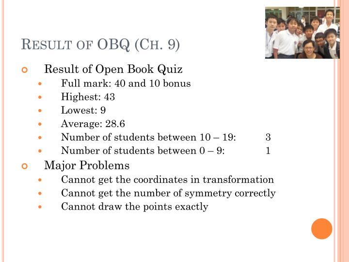 Result of obq ch 9