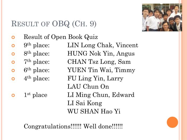 Result of OBQ (Ch. 9)