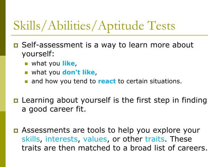 Skills abilities aptitude tests