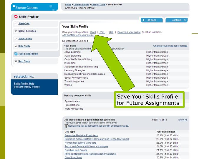 Save Your Skills Profile for Future Assignments