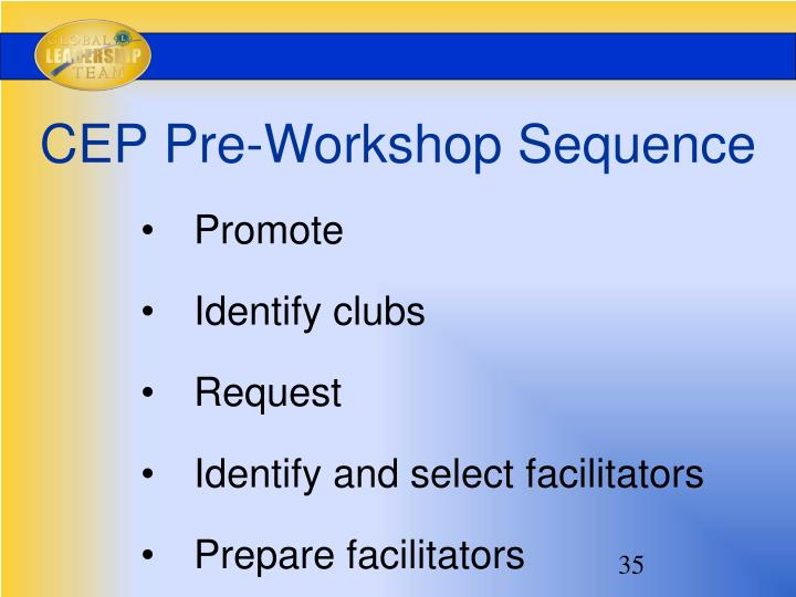 CEP Pre-Workshop Sequence