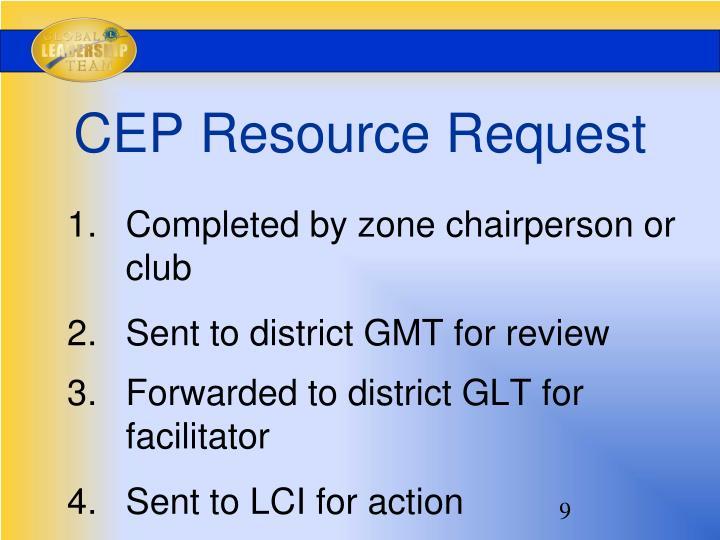CEP Resource Request