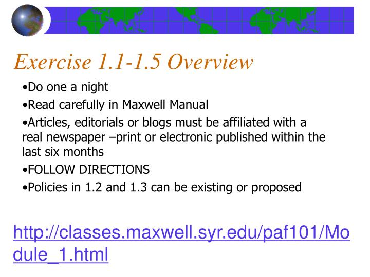 Exercise 1.1-1.5 Overview
