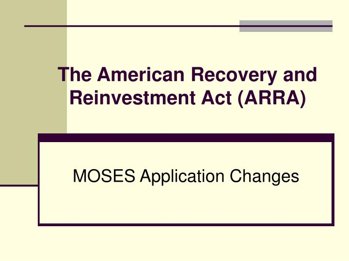 the american recovery and reinvestment act arra n.
