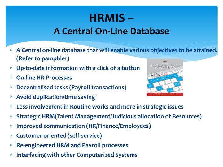 Ppt Human Resource Management Information System Hrmis