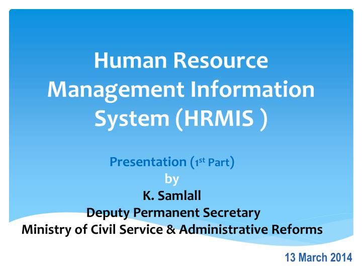 Ppt Human Resource Management Information System Hrmis