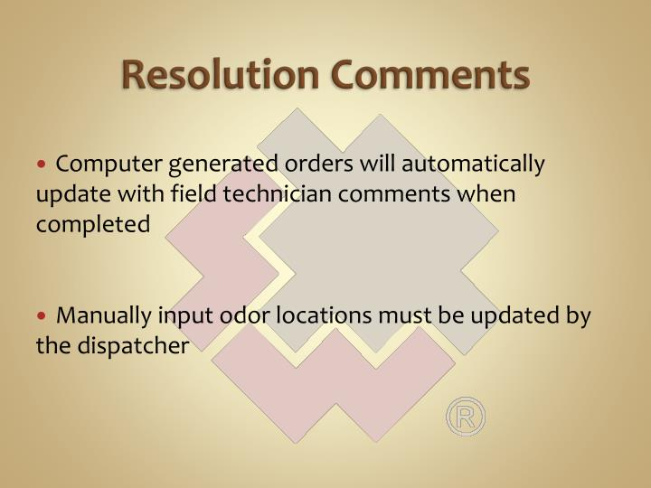 Resolution Comments