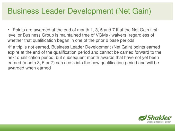 Business Leader Development (Net Gain)