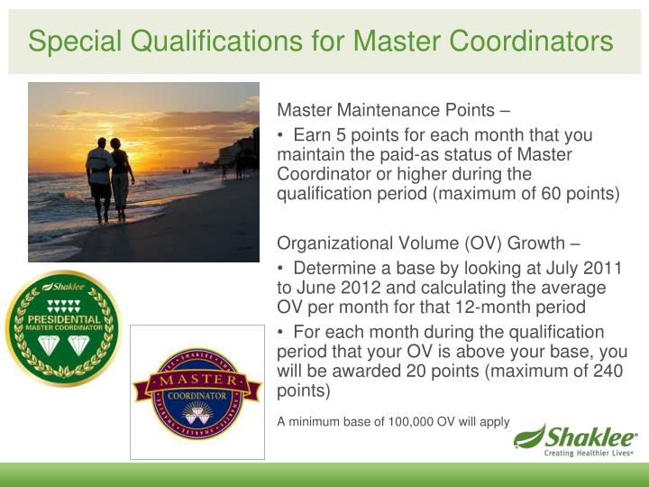 Special Qualifications for Master Coordinators