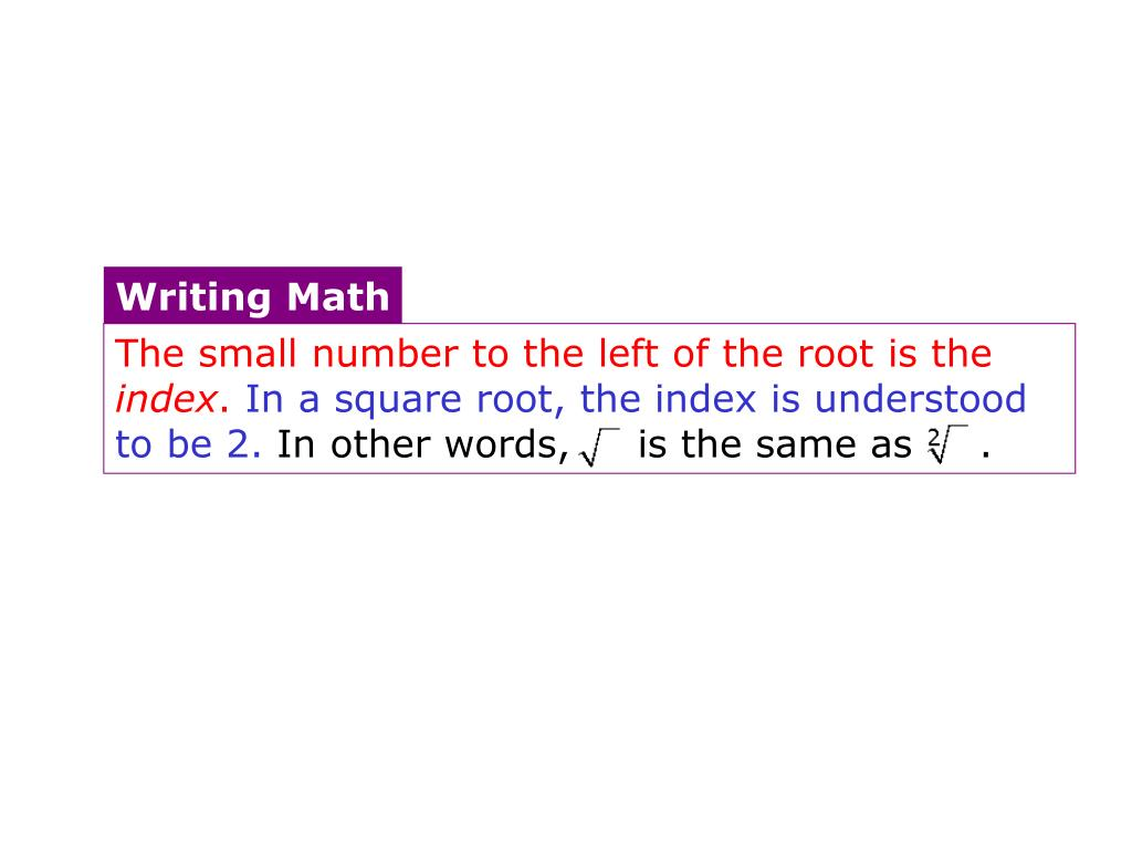 Index of root