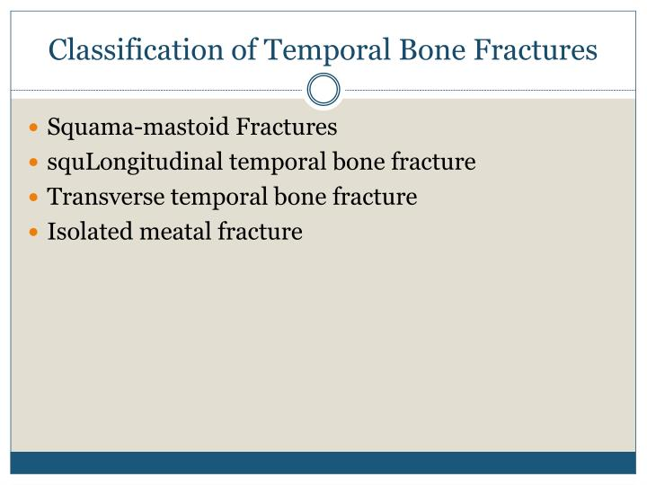 Classification of Temporal Bone Fractures