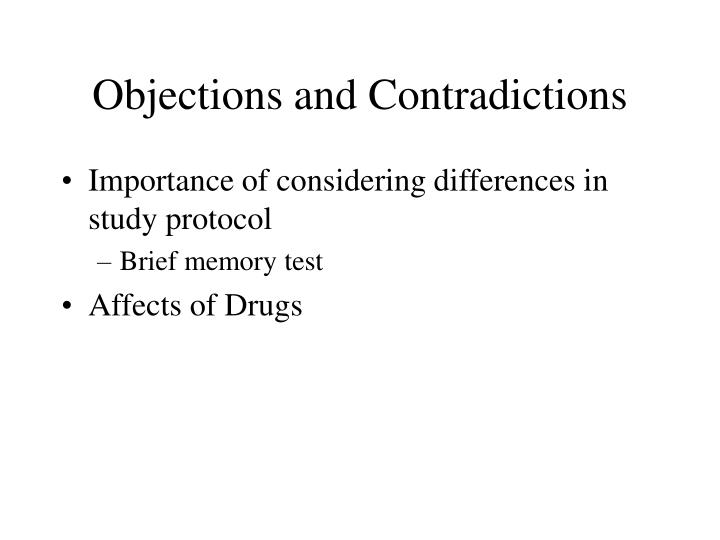 Objections and Contradictions
