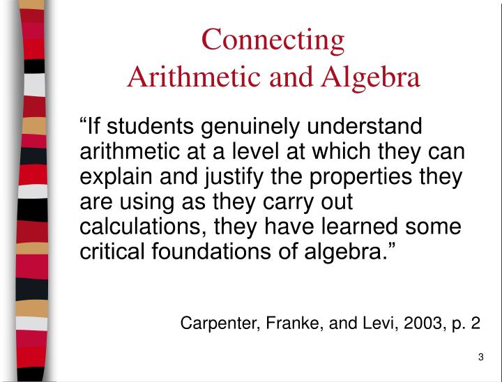Connecting arithmetic and algebra