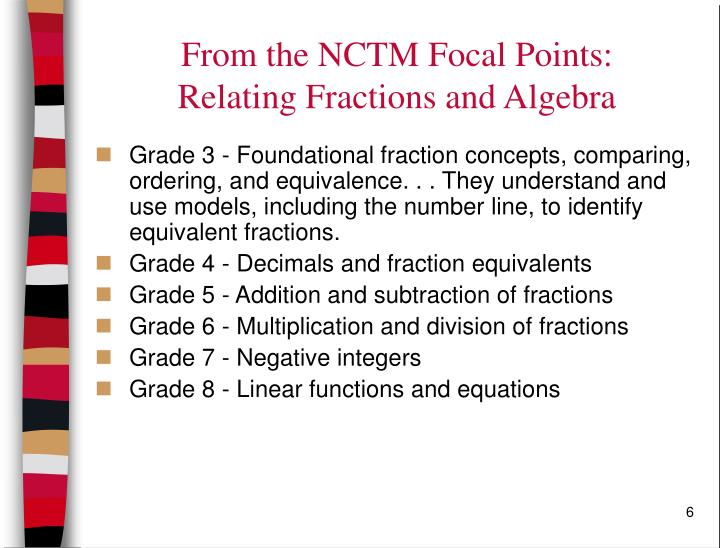 From the NCTM Focal Points:
