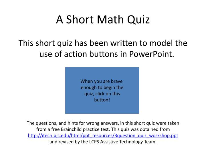 PPT - A Short Math Quiz PowerPoint Presentation - ID:6719897