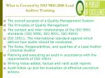 what is covered by iso 9001 2008 lead auditor training