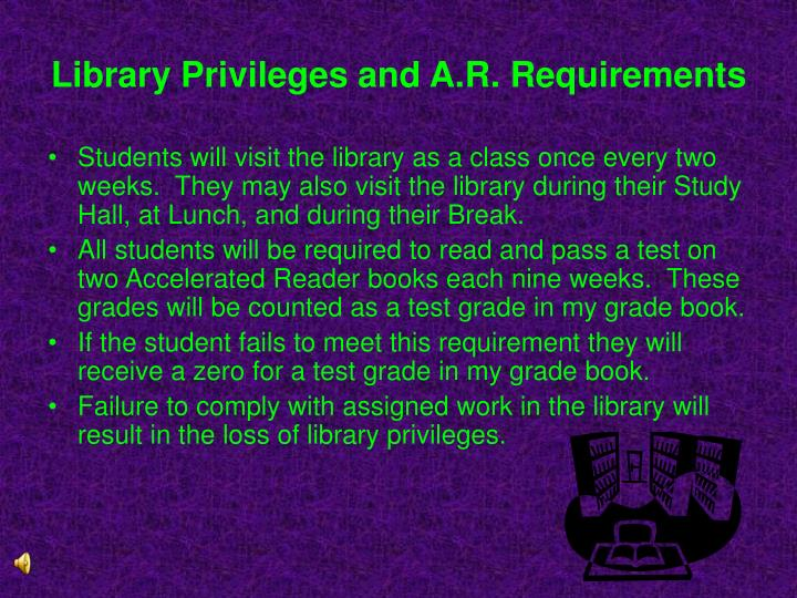 Library Privileges and A.R. Requirements