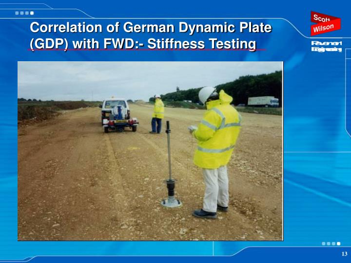 Correlation of German Dynamic Plate (GDP) with FWD:- Stiffness Testing
