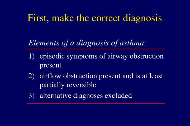 First make the correct diagnosis