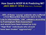 how good is ncep iii at predicting mi jacc 2003 41 1475 9 slide from j rumberger