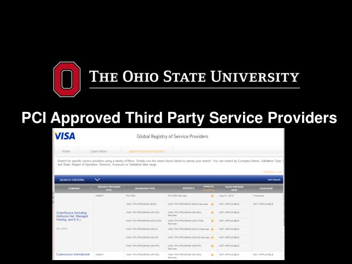 PCI Approved Third Party Service Providers