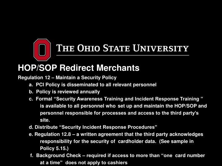 HOP/SOP Redirect Merchants