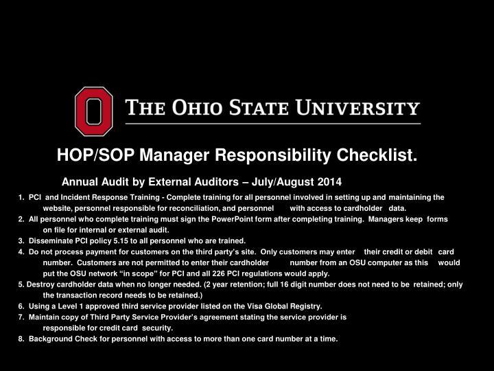 HOP/SOP Manager Responsibility Checklist.