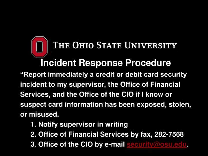 Incident Response Procedure
