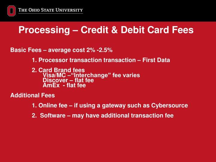 Processing – Credit & Debit Card Fees