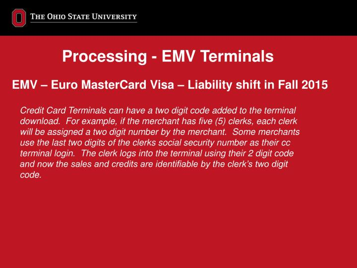 Processing - EMV Terminals