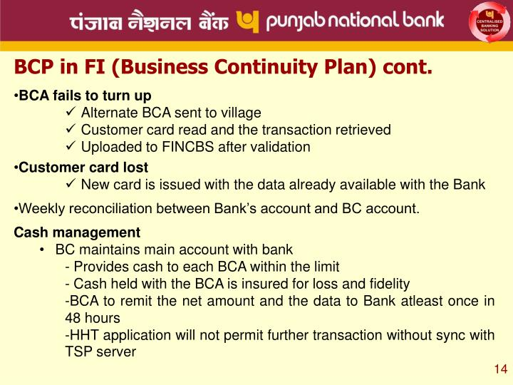 BCP in FI (Business Continuity Plan) cont.