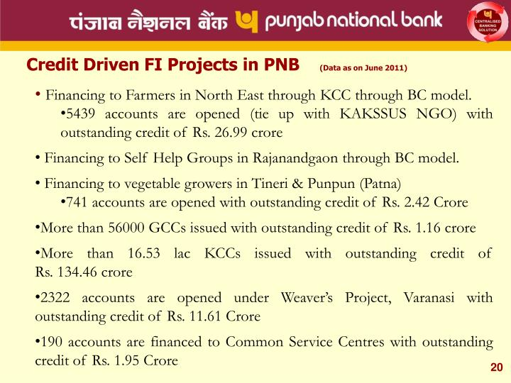 Credit Driven FI Projects in PNB