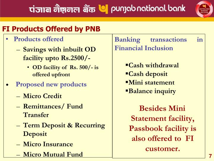 FI Products Offered by PNB