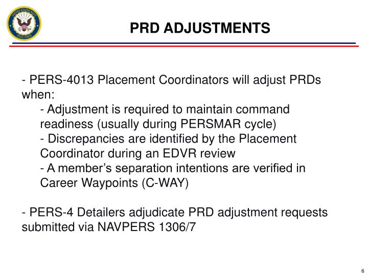 PRD ADJUSTMENTS