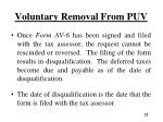 voluntary removal from puv1