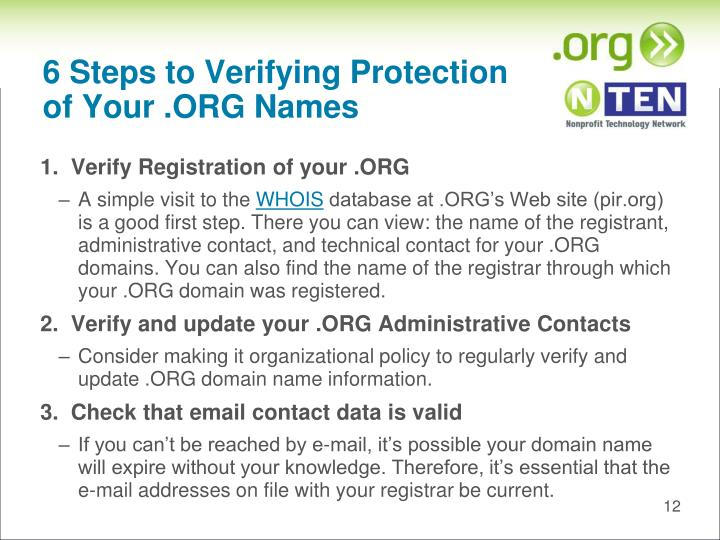 6 Steps to Verifying Protection of Your .ORG Names