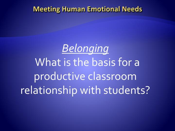 Meeting Human Emotional Needs