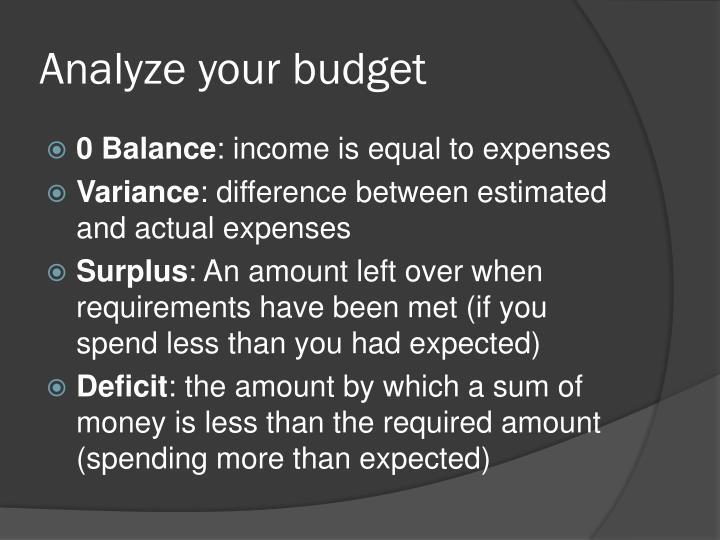 Analyze your budget