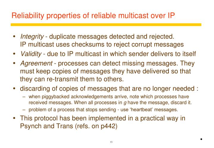 Reliability properties of reliable multicast over IP