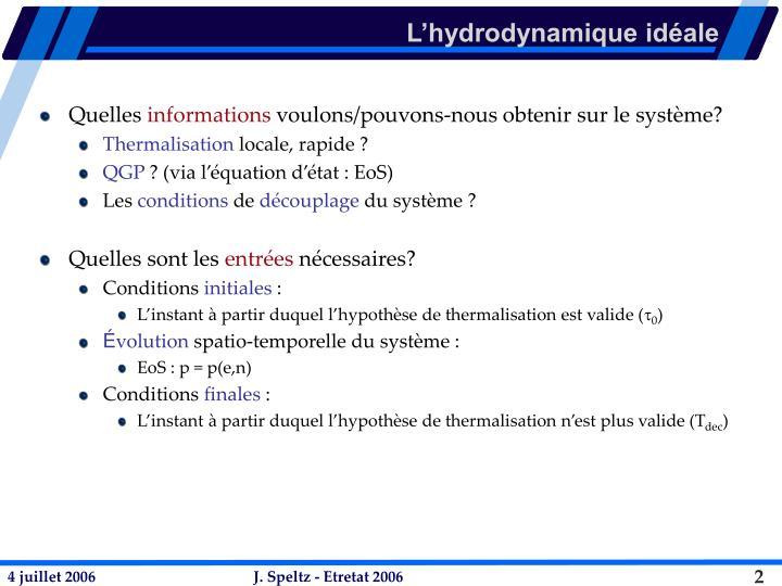 L hydrodynamique id ale