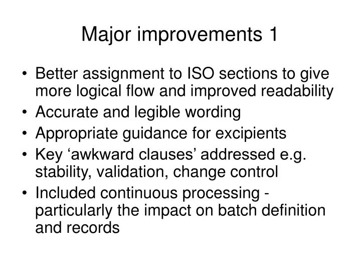 Major improvements 1