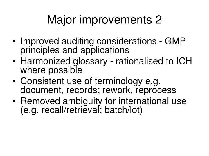 Major improvements 2