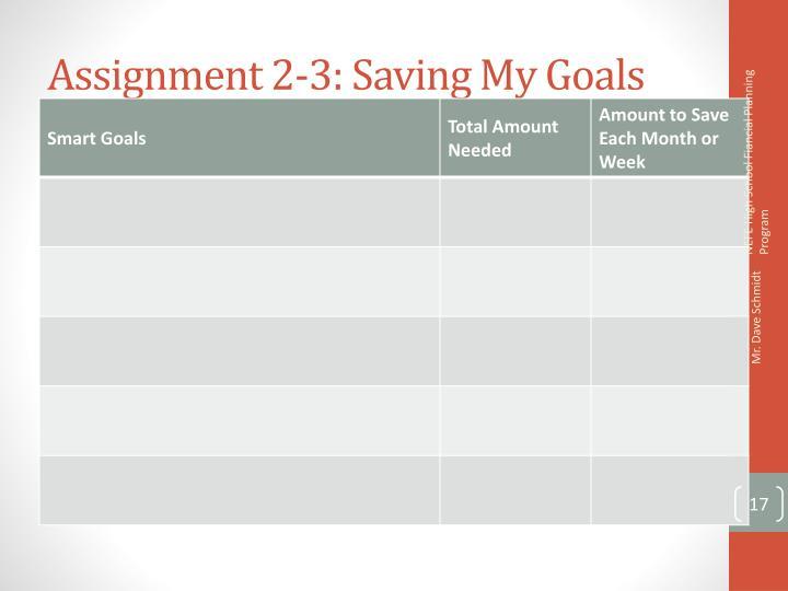 Assignment 2-3: Saving My Goals