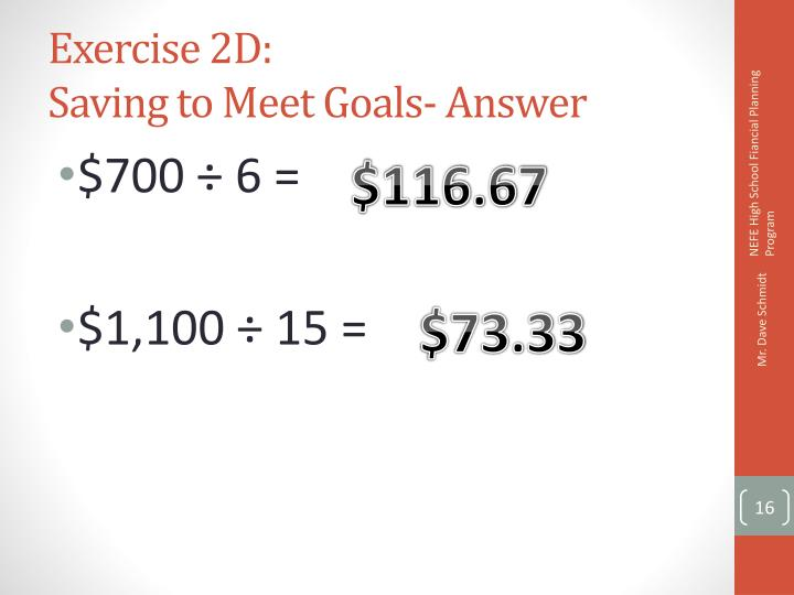 Exercise 2D: