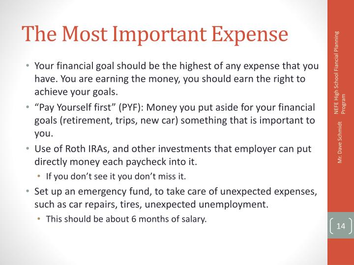 The Most Important Expense