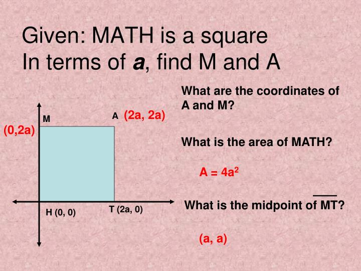 Given: MATH is a square