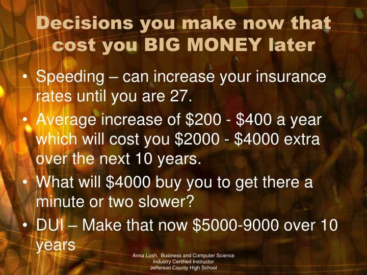 Decisions you make now that cost you BIG MONEY later